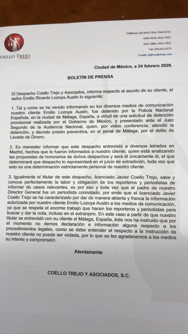 Analiza Lozoya opciones de defensa en proceso de extradición 2