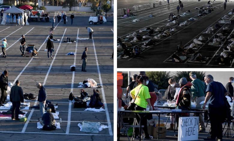 Las Vegas: ponen a indigentes a dormir en rectángulos pintados en estacionamiento 1