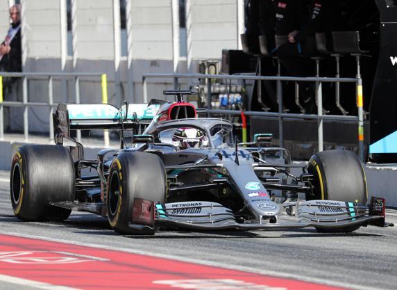 Lewis Hamilton, piloto de Mercedes, en los pasados test de F1 en Barcelona