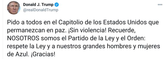Debemos tener paz, vayan a casa: Trump a manifestantes que irrumpieron en el Capitolio | Video 1