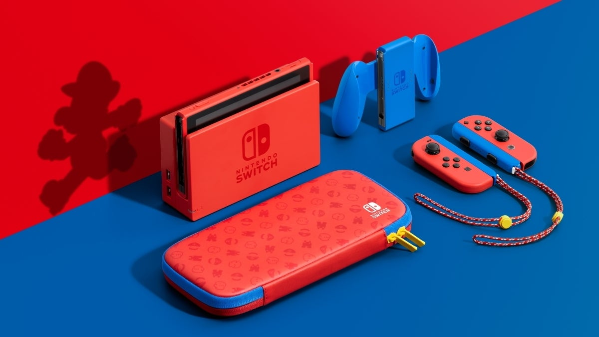 nintendo switch mario rojo y azul nuevo hed recortado